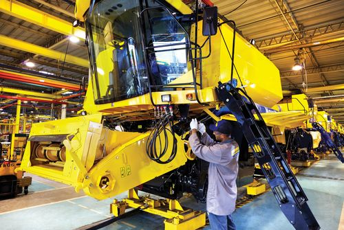 Production-of-a-New-Holland-Agriculture-combine-harvester-at-CNH-Industrials-Curitiba-plant-in-Brazil-